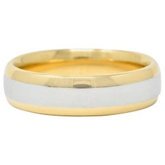 Vintage Platinum 18 Karat Gold Men's Wedding Band Ring