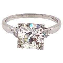 Vintage Platinum 1930s GIA Certified 2.59 Carat Old Mine Diamond Engagement Ring