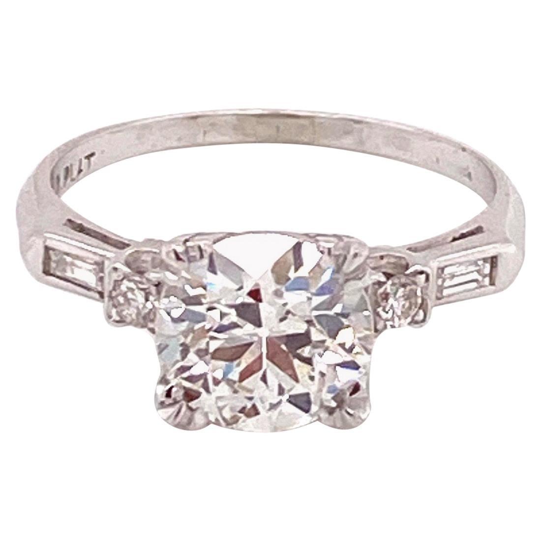 Vintage Platinum 1950s 1.90 Carat Diamond Engagement Ring