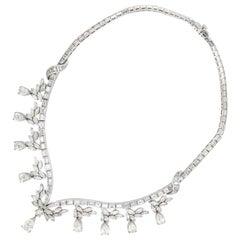 Vintage Platinum 1950s Style Diamond Necklace