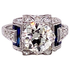 Vintage Platinum 2.23 Carat Diamond Art Deco Engagement Ring