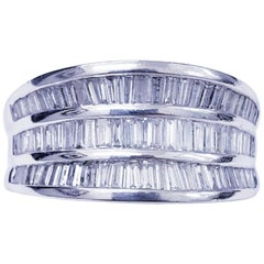 Vintage Platinum 3.00 Carat Tapered Baguette Diamonds Cocktail Ring