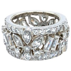 Vintage Platinum 4 Carat Diamond Wide Anniversary Band Ring, circa 1960