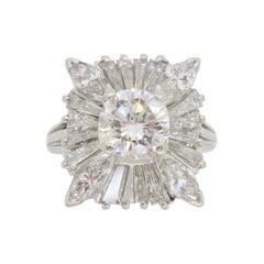 Vintage Platinum 4.02ctw Diamond Ballerina Ring