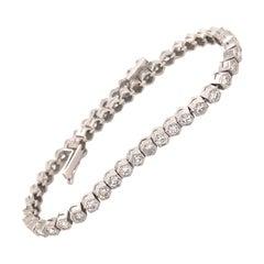 Vintage Platinum 4.20 Carats Diamonds Link Bracelet