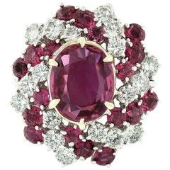 Vintage Platinum 6.90ctw GIA Oval Pink Ceylon Sapphire Round Diamond Swirl Ring