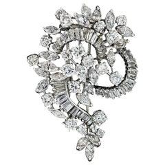 Vintage Platinum 8.85ctw Round Baguette Marquise Diamond Spray Floral Pin Brooch