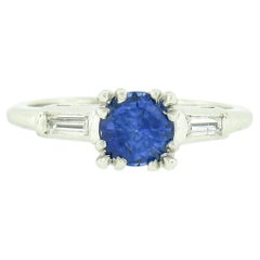 Vintage Platinum .93ct Round Sapphire & Baguette Diamond 3 Stone Engagement Ring