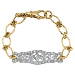 Vintage Platinum and Gold Link Diamond Bracelet, circa 1920