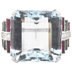 Vintage Platinum Aquamarine, Diamond, Emerald, and Ruby Cocktail Ring