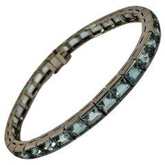 Vintage Platinum Aquamarine Straight Row Bracelet