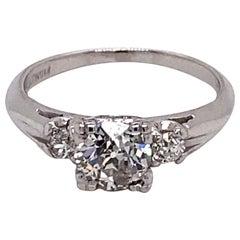 Vintage Platinum Art Deco 3-Stone Diamond Ring .84 Carat and .15 Carat
