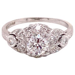 Vintage Platinum Art Deco .63 Carat Diamond Ring