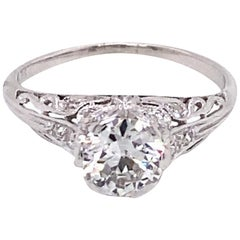 Vintage Platinum Art Deco Diamond Engagement Filigree Ring 1.31 Carat