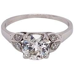 Vintage Platinum Art Deco Diamond Engagement Ring 1.01 Carat with Diamond Leafs