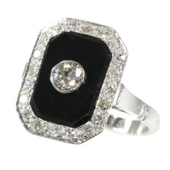 Vintage Platinum Art Deco Style Diamond and Onyx Ring from the 1950s