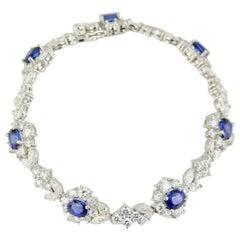 Vintage Platinum Blue Sapphire and Diamond Bracelet Larry Jewelry, 1970s