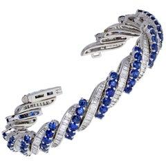 Vintage Platinum Blue Sapphire Diamond Bracelet