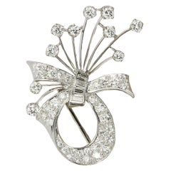 Vintage Platinum Cartier Diamond Brooch