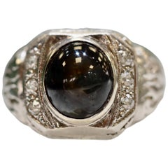 Vintage Platinum Cats Eye Chrysoberyl Diamond Men's Heavy Ring