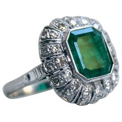 Vintage Platinum Diamond and Emerald Ring Engagement Ring, 7.96 Carat