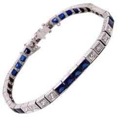 Vintage Platinum Diamond and Lab Created Sapphire Tennis Bracelet