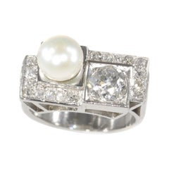 Vintage Platinum Diamond and Pearl Art Deco Engagement Ring, 1930s