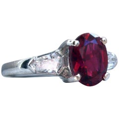 Vintage Platinum Diamond and Red Tourmaline Three-Stone Ring Engagement Ring