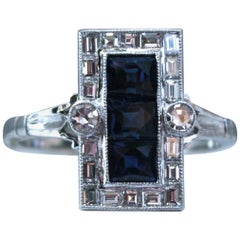 Vintage Platinum Diamond and Square Sapphire Cluster Ring, 1.48 Carat