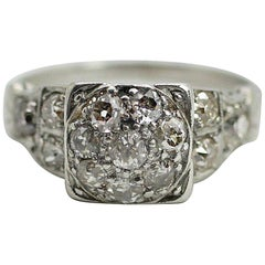 Vintage Platinum Diamond Cluster Ring
