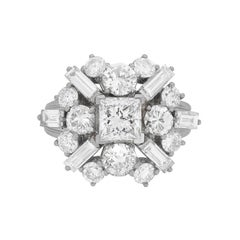 Vintage Platinum Diamond Cluster Ring, circa 1970s