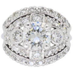 Vintage Platinum Diamond Cocktail Ring
