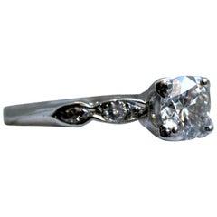 Vintage Platinum Diamond Engagement Ring, 0.76 Carat