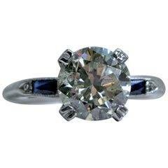 Vintage Platinum Diamond Engagement Ring with Baguette Sapphires, 2.30 Carat