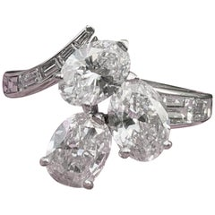 Vintage Platinum Diamond Oval Baguette Cut Three-Stone Cluster Statement Ring