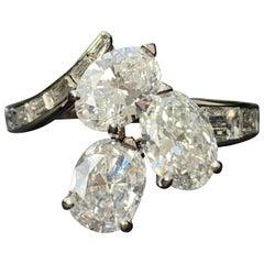 Vintage Platinum Diamond Oval Baguette Cut Three-Stone Cluster Statement Ring