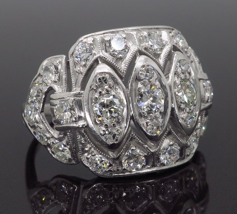 Vintage Platinum and Diamond Ring 6