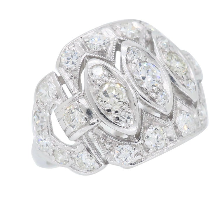 Women's or Men's Vintage Platinum and Diamond Ring