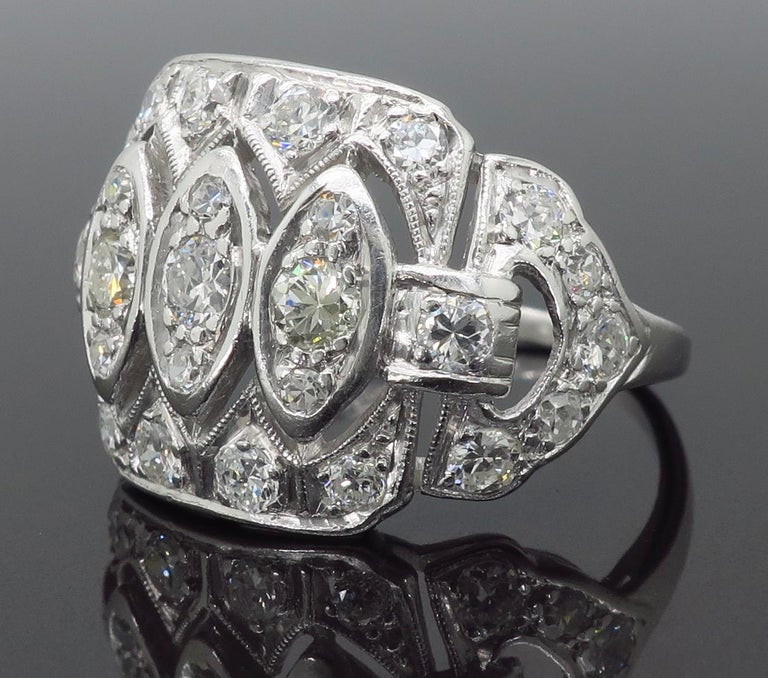Vintage Platinum and Diamond Ring 2