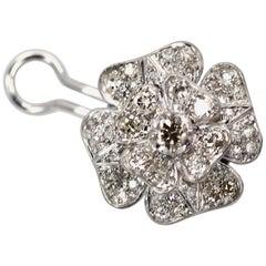Vintage Platinum Diamond Rose Earrings Early 20th Century Italy 3.00 Carat