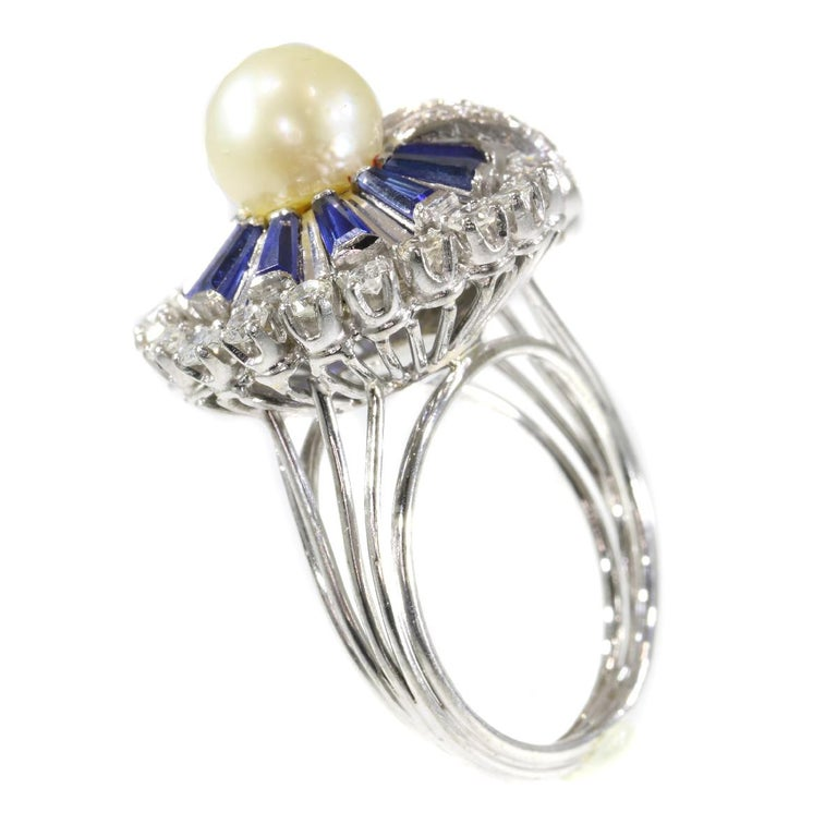 Vintage Platinum Diamond Sapphire and Pearl Cocktail Ring For Sale 6