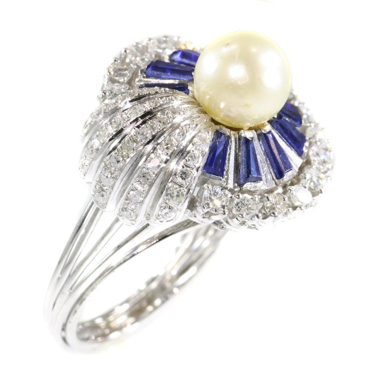 Vintage Platinum Diamond Sapphire and Pearl Cocktail Ring For Sale 9