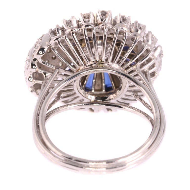 Vintage Platinum Diamond Sapphire and Pearl Cocktail Ring For Sale 10