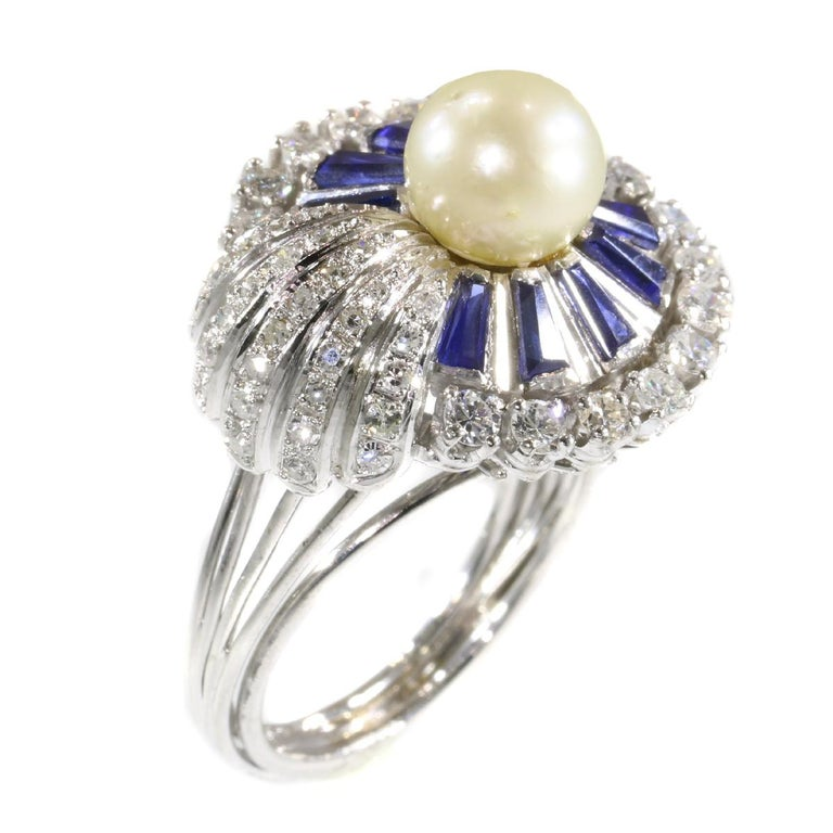 Retro Vintage Platinum Diamond Sapphire and Pearl Cocktail Ring For Sale