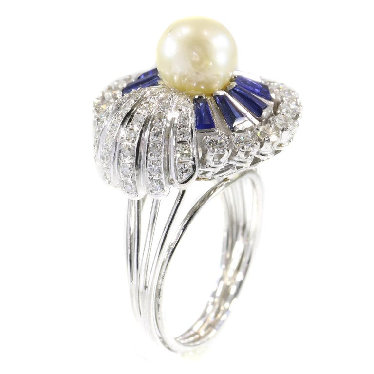 Women's Vintage Platinum Diamond Sapphire and Pearl Cocktail Ring For Sale