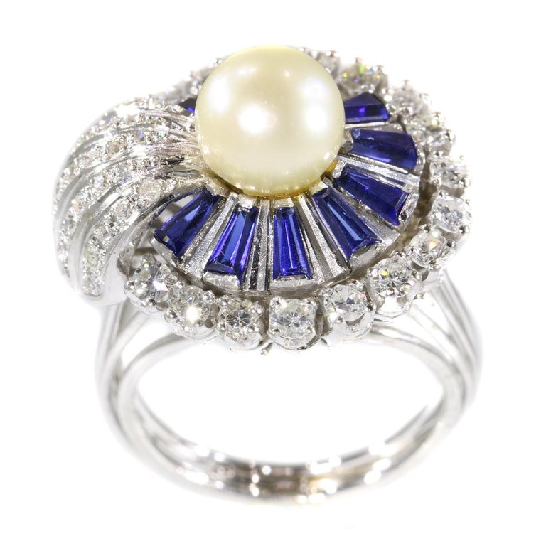 Vintage Platinum Diamond Sapphire and Pearl Cocktail Ring For Sale 1