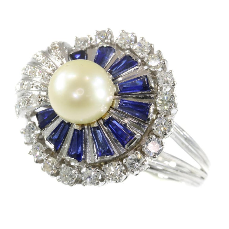 Vintage Platinum Diamond Sapphire and Pearl Cocktail Ring For Sale 2