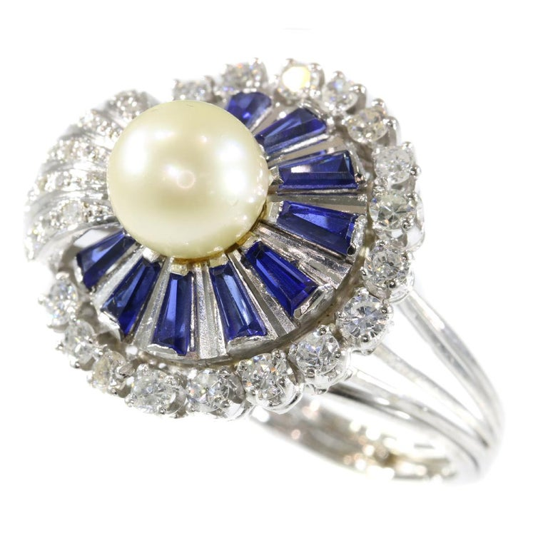 Vintage Platinum Diamond Sapphire and Pearl Cocktail Ring For Sale 3