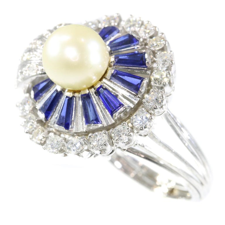 Vintage Platinum Diamond Sapphire and Pearl Cocktail Ring For Sale 4