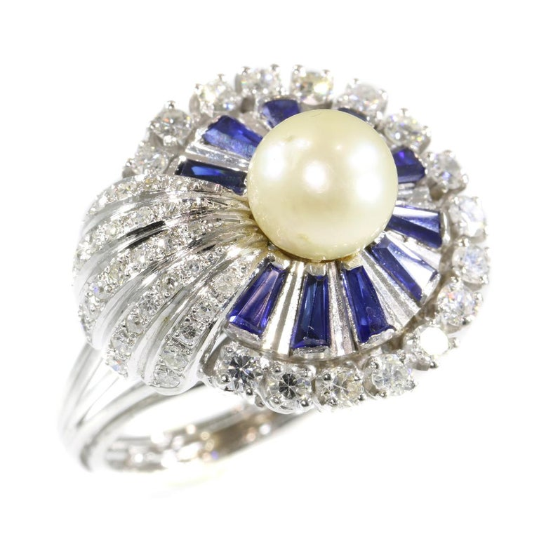Vintage Platinum Diamond Sapphire and Pearl Cocktail Ring For Sale